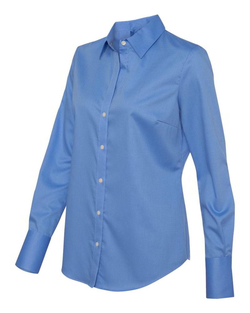 Calvin Klein Non-Iron Dobby Pindot Cotton Womens Long Sleeve ...