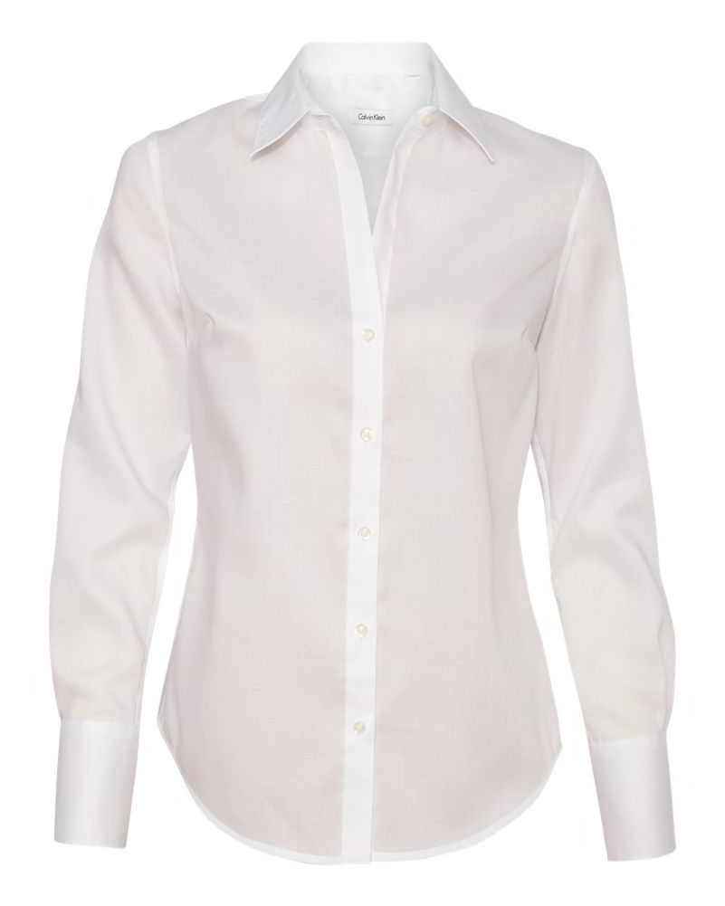 Calvin Klein Non-Iron Dobby Pindot Cotton Womens Long Sleeve ...