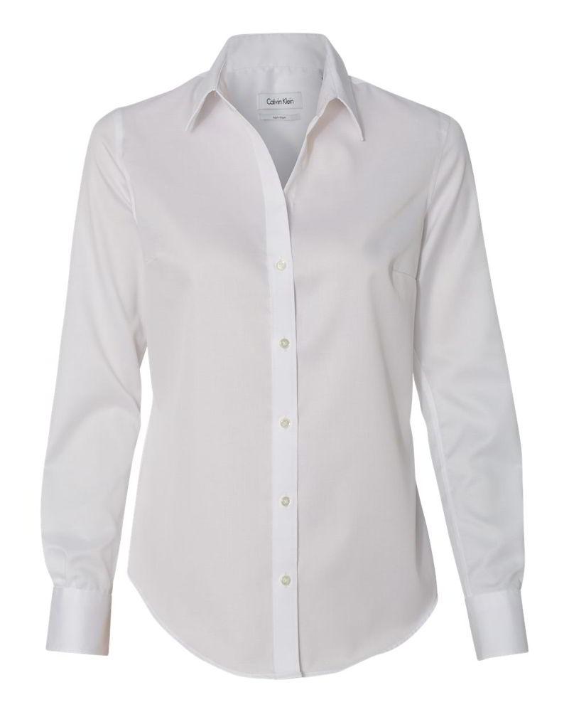 Calvin Klein Non-Iron Micro Pincord Cotton Womens Long Sleeve ...